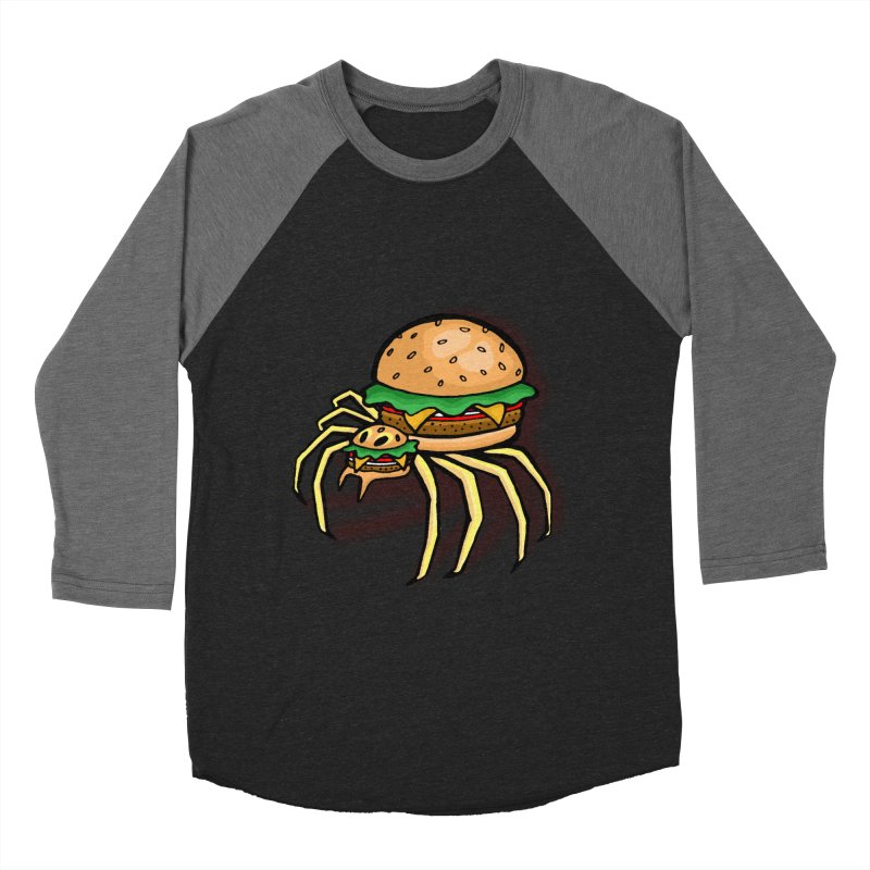 Cheeseburger Spider Men's Baseball Triblend T-Shirt by Angela Tarantula