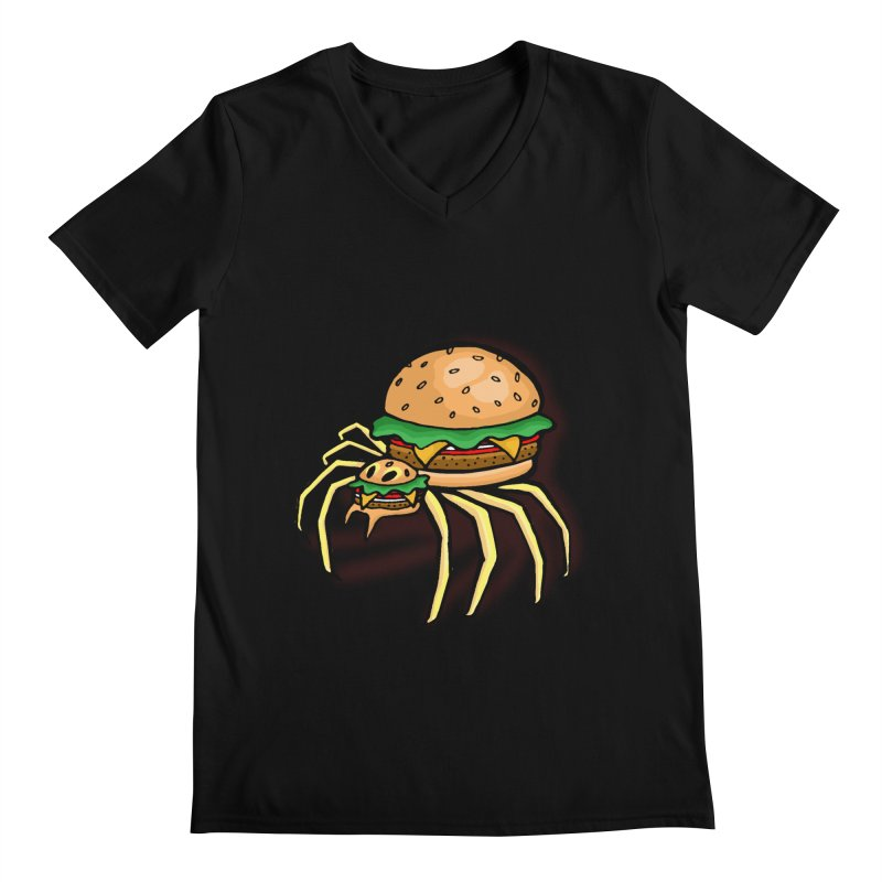 Cheeseburger Spider Men's V-Neck by Angela Tarantula