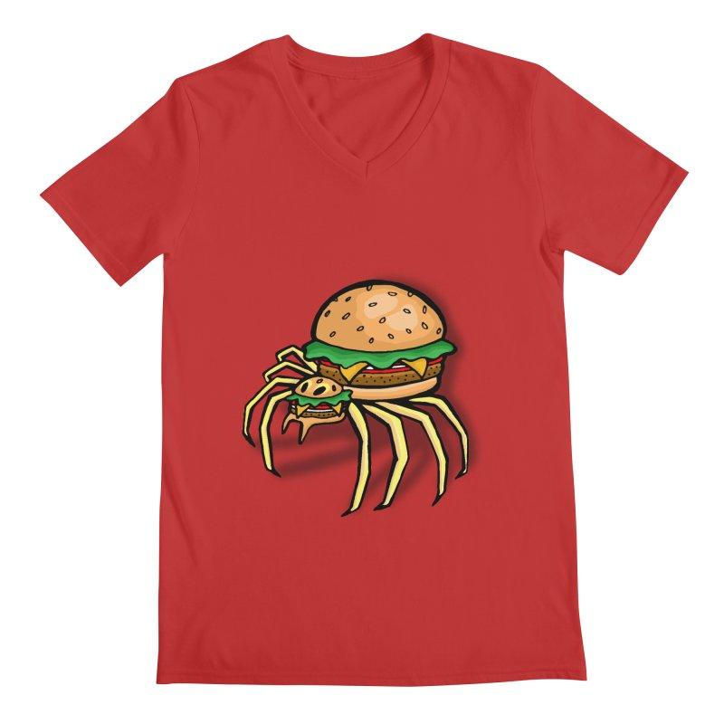 Cheeseburger Spider Men's V-Neck by Angela Tarantula