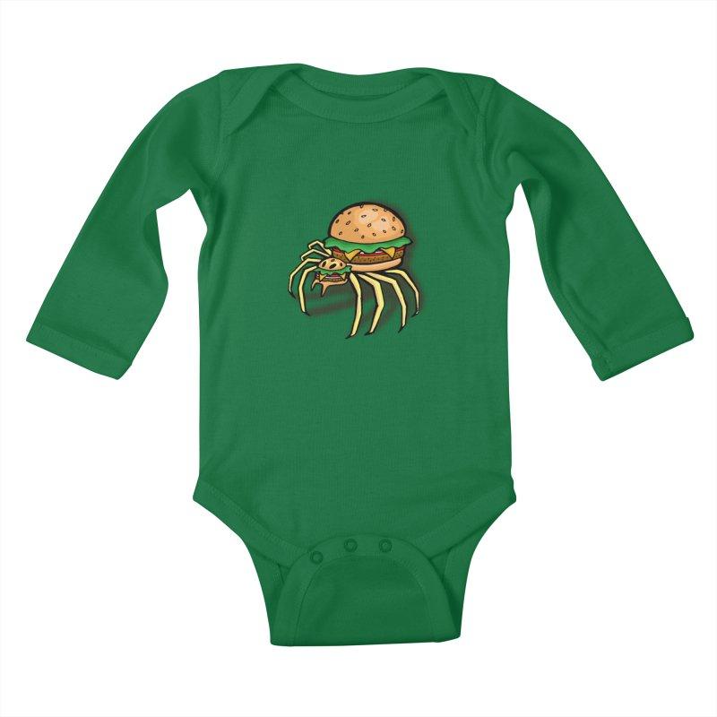 Cheeseburger Spider Kids Baby Longsleeve Bodysuit by Angela Tarantula