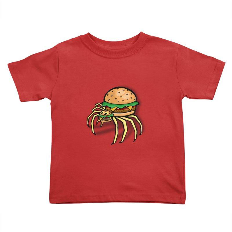 Cheeseburger Spider Kids Toddler T-Shirt by Angela Tarantula
