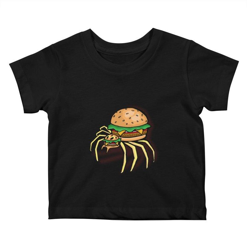 Cheeseburger Spider Kids Baby T-Shirt by Angela Tarantula