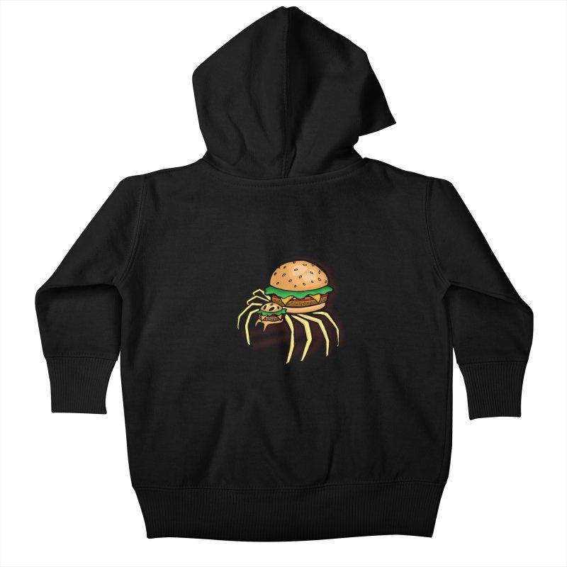 Cheeseburger Spider Kids Baby Zip-Up Hoody by Angela Tarantula