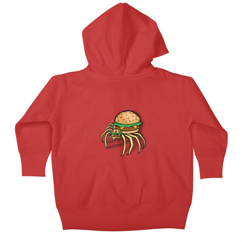 Cheeseburger Spider Kids Baby Zip-Up Hoody by Angela Tarantula