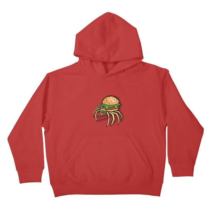 Cheeseburger Spider Kids Pullover Hoody by Angela Tarantula