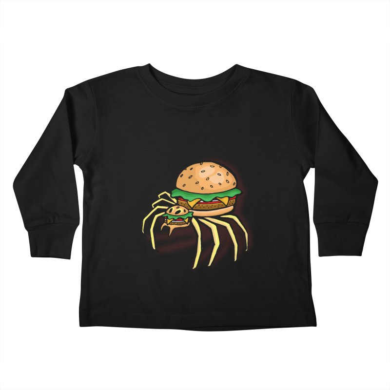 Cheeseburger Spider Kids Toddler Longsleeve T-Shirt by Angela Tarantula