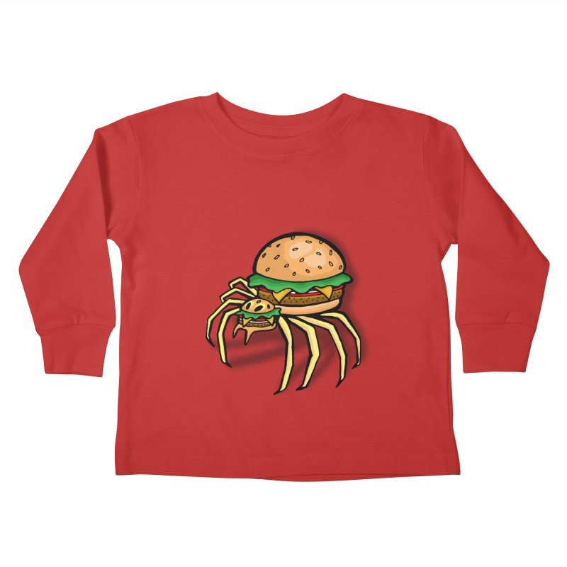 Cheeseburger Spider Kids Toddler Longsleeve T-Shirt by Angela Tarantula