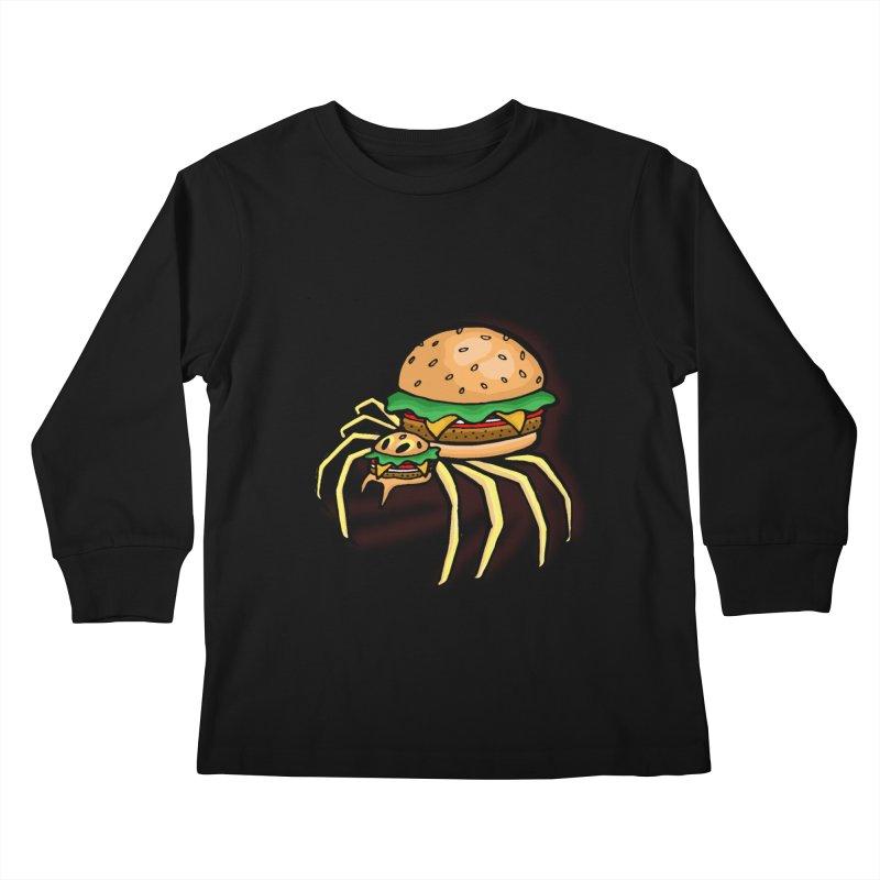 Cheeseburger Spider Kids Longsleeve T-Shirt by Angela Tarantula