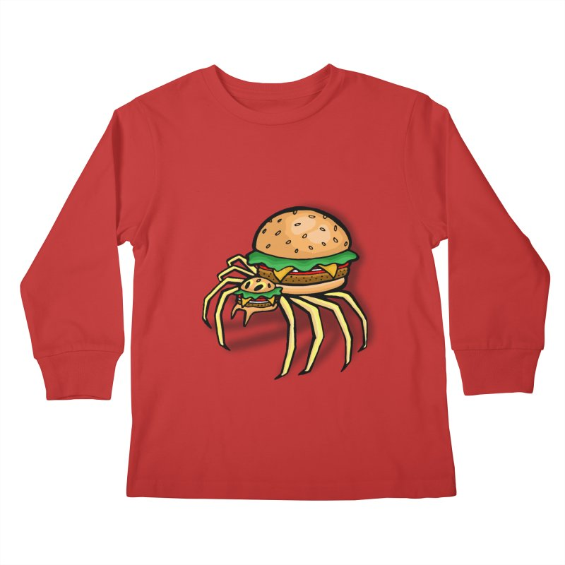 Cheeseburger Spider Kids Longsleeve T-Shirt by Angela Tarantula