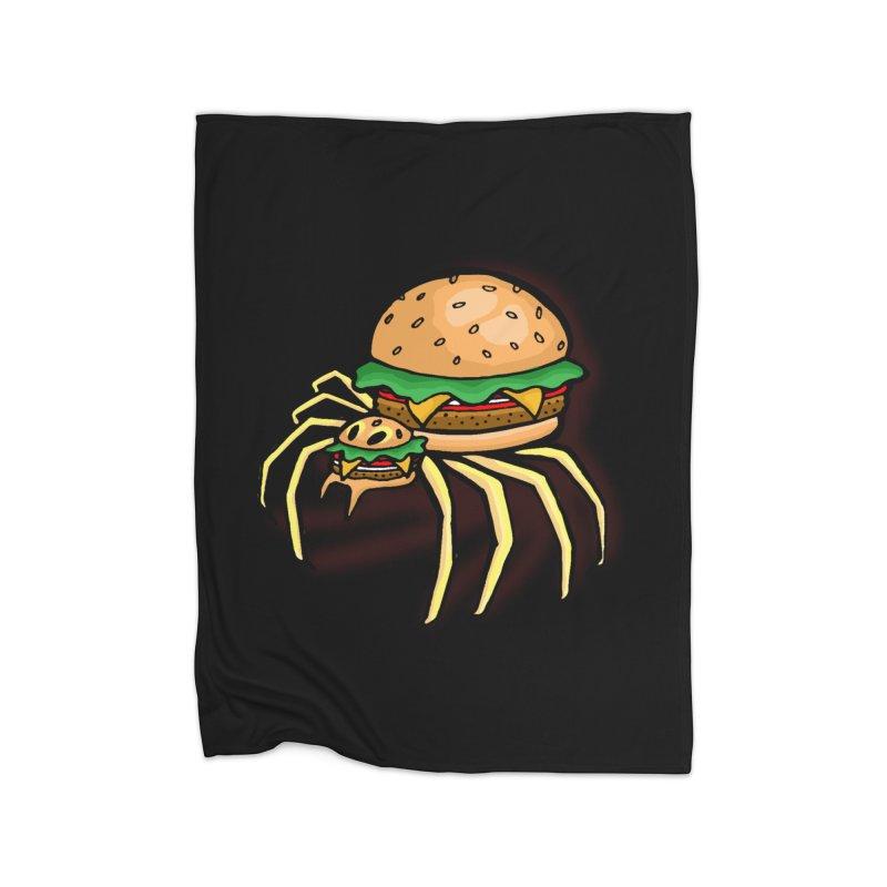 Cheeseburger Spider Home Fleece Blanket by Angela Tarantula