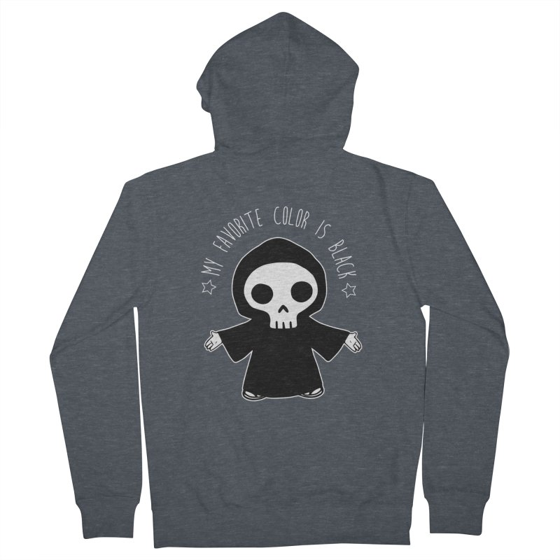 My Favorite Color is Black Women's French Terry Zip-Up Hoody by Angela Tarantula