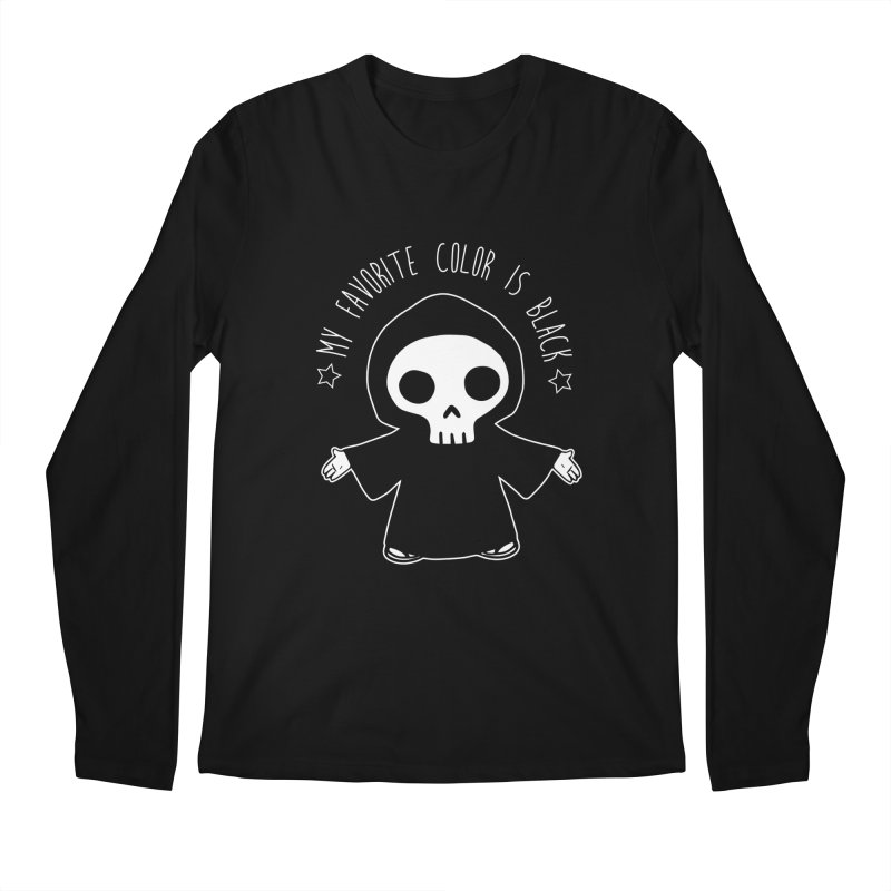 My Favorite Color is Black Men's Regular Longsleeve T-Shirt by Angela Tarantula