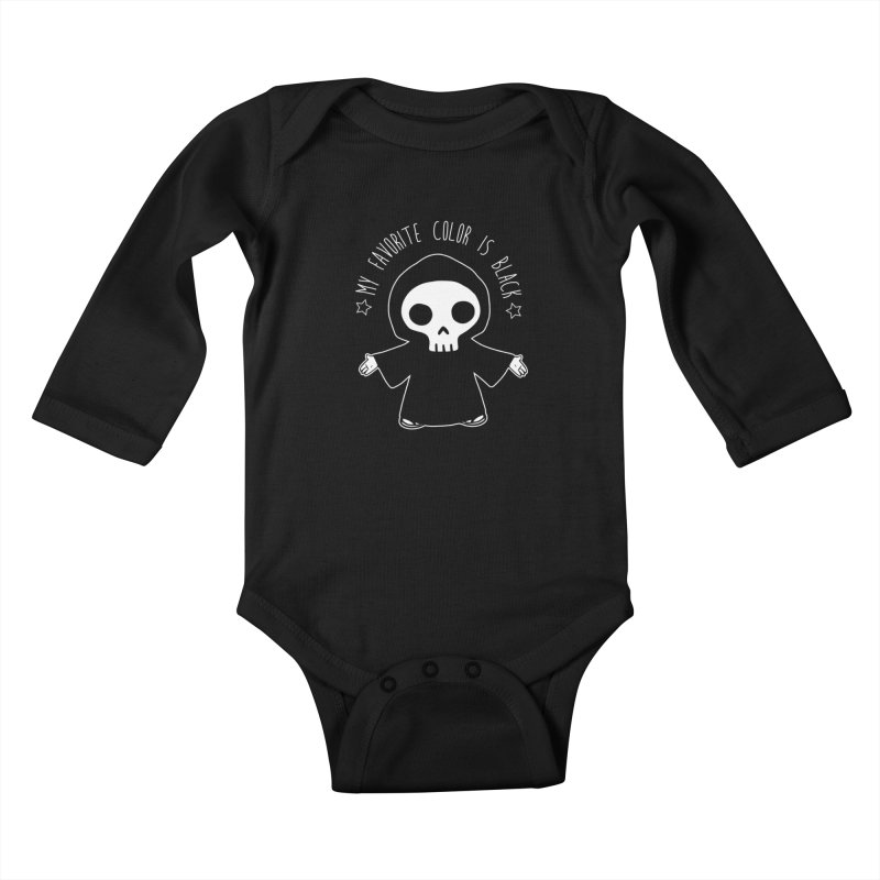 My Favorite Color is Black Kids Baby Longsleeve Bodysuit by Angela Tarantula