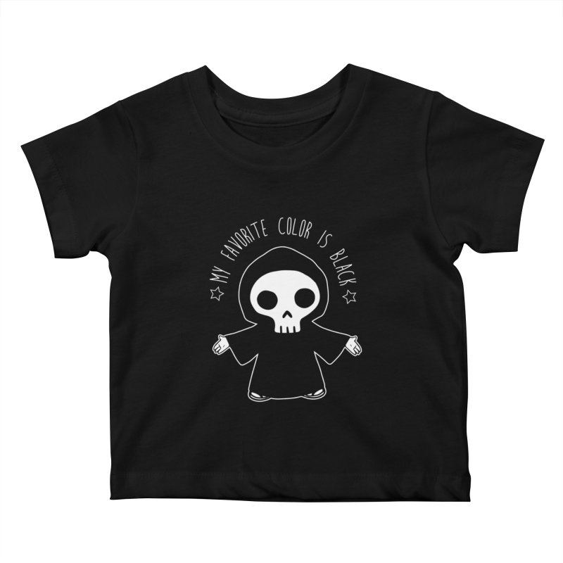 My Favorite Color is Black Kids Baby T-Shirt by Angela Tarantula