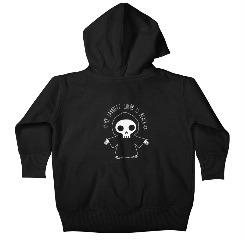 My Favorite Color is Black Kids Baby Zip-Up Hoody by Angela Tarantula