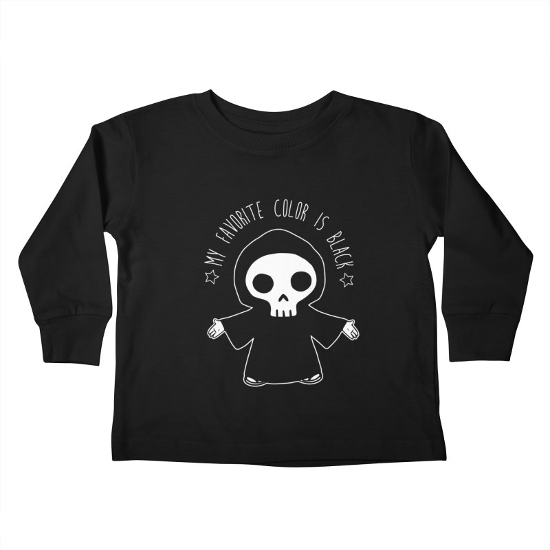 My Favorite Color is Black Kids Toddler Longsleeve T-Shirt by Angela Tarantula