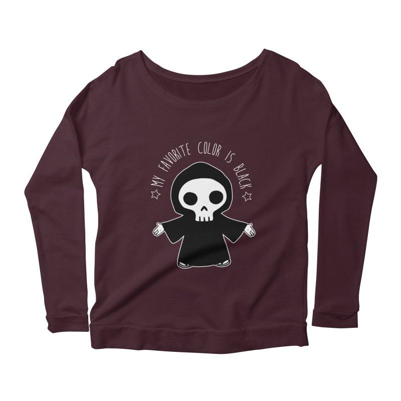 My Favorite Color is Black Women's Scoop Neck Longsleeve T-Shirt by Angela Tarantula