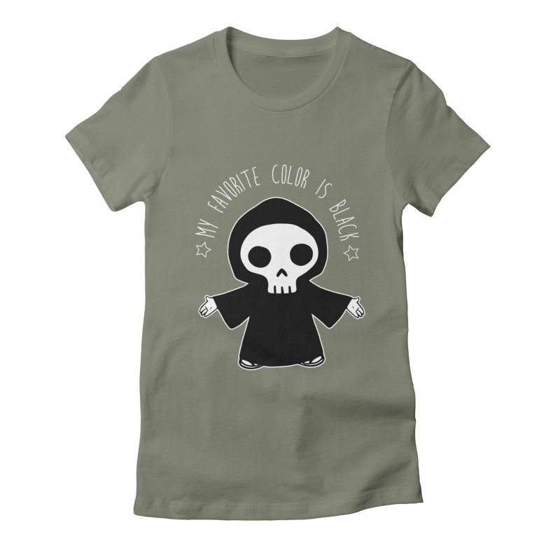 My Favorite Color is Black Women's Fitted T-Shirt by Angela Tarantula