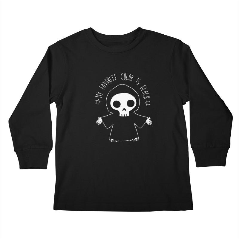 My Favorite Color is Black Kids Longsleeve T-Shirt by Angela Tarantula