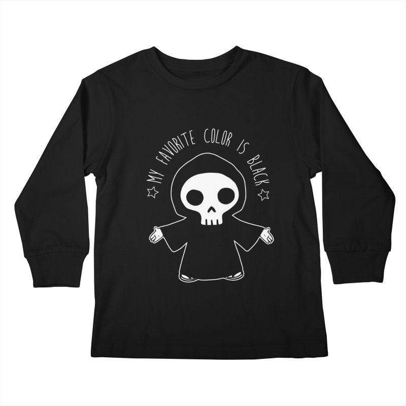 My Favorite Color is Black Kids Longsleeve T-Shirt by Angela Tarantula
