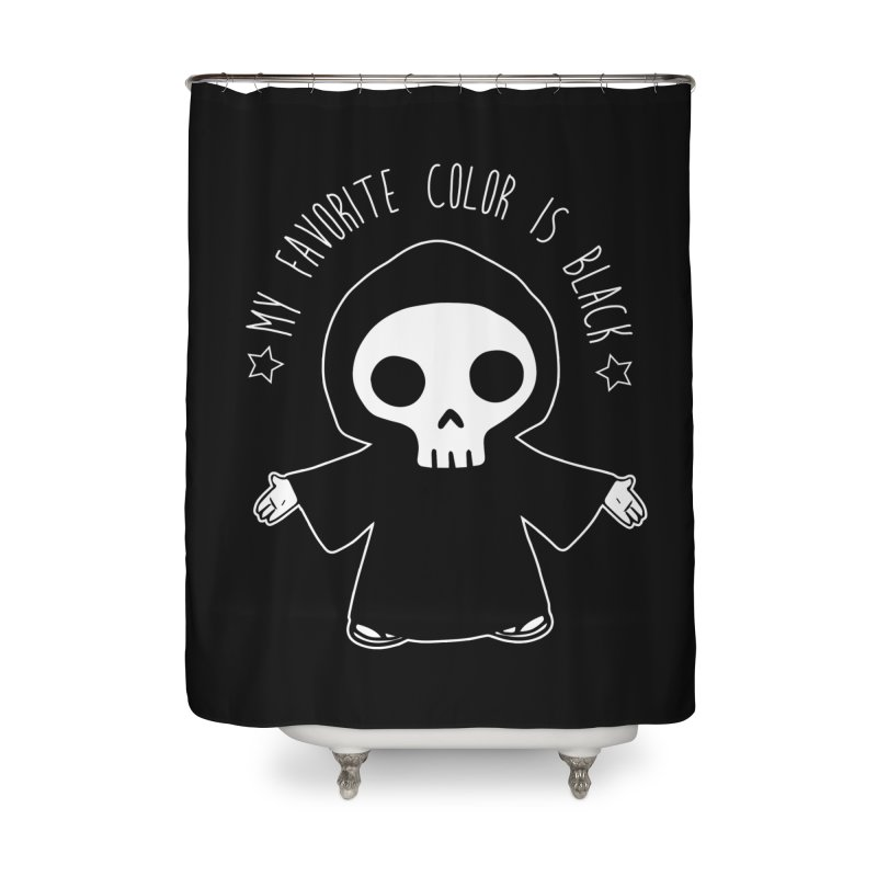 My Favorite Color is Black Home Shower Curtain by Angela Tarantula