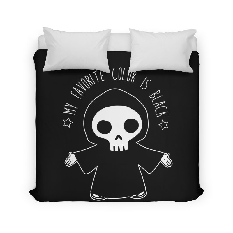 My Favorite Color is Black Home Duvet by Angela Tarantula