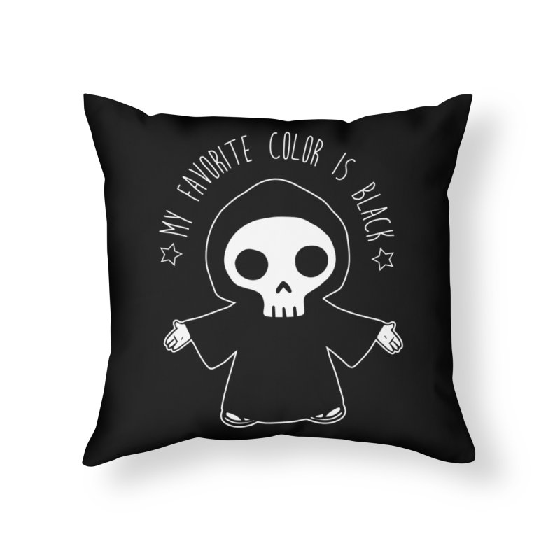My Favorite Color is Black Home Throw Pillow by Angela Tarantula