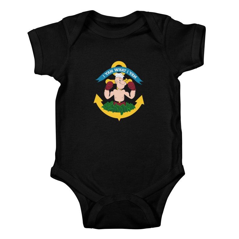 I Yam What I Yam  Kids Baby Bodysuit by Angela Tarantula