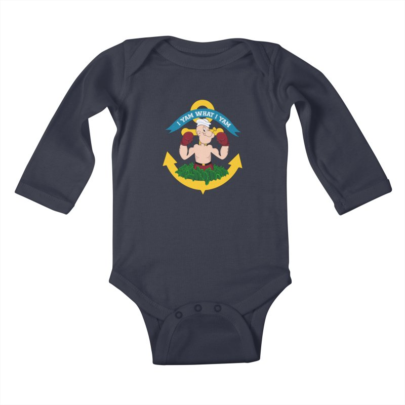 I Yam What I Yam  Kids Baby Longsleeve Bodysuit by Angela Tarantula