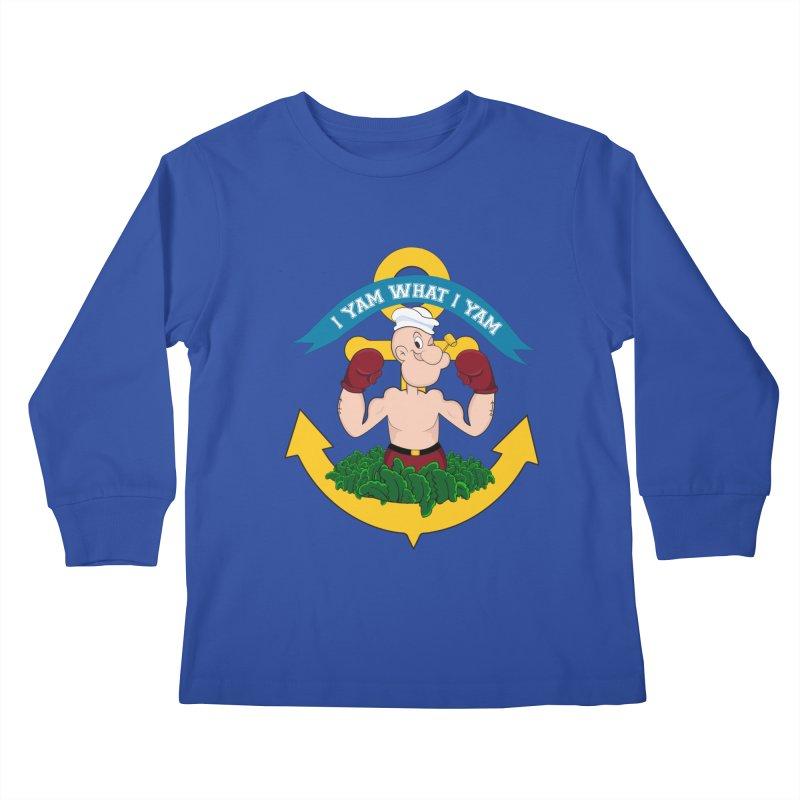 I Yam What I Yam  Kids Longsleeve T-Shirt by Angela Tarantula