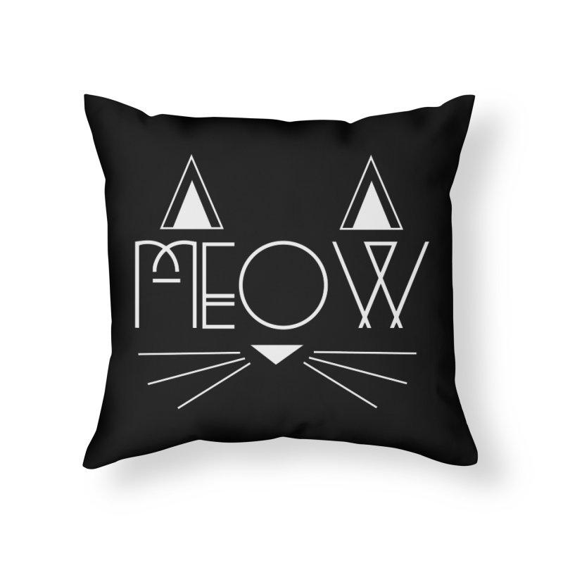 MEOW Home Throw Pillow by Angela Tarantula