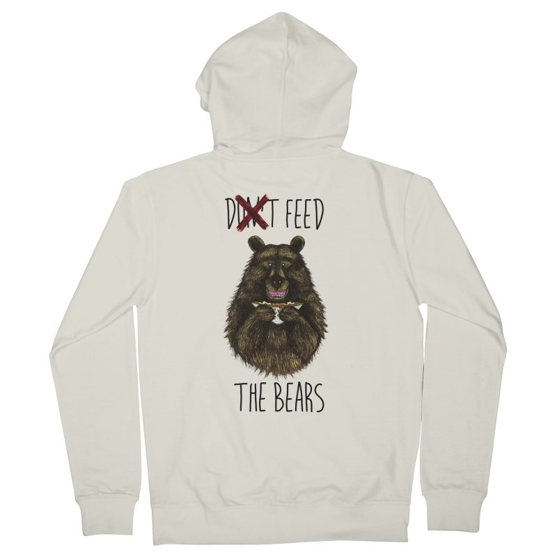 Don't Feed the Bears Men's French Terry Zip-Up Hoody by Angela Tarantula