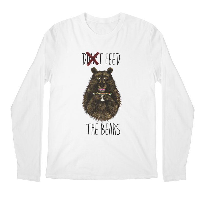 Don't Feed the Bears Men's Regular Longsleeve T-Shirt by Angela Tarantula