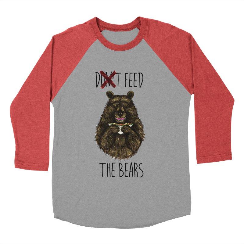 Don't Feed the Bears Women's Baseball Triblend T-Shirt by Angela Tarantula