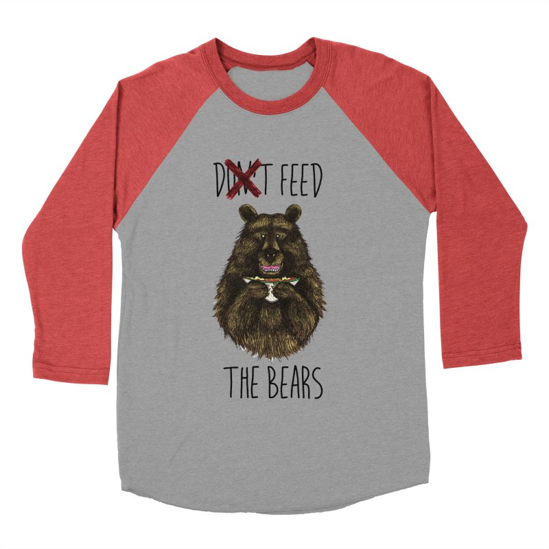 Don't Feed the Bears Men's Baseball Triblend T-Shirt by Angela Tarantula