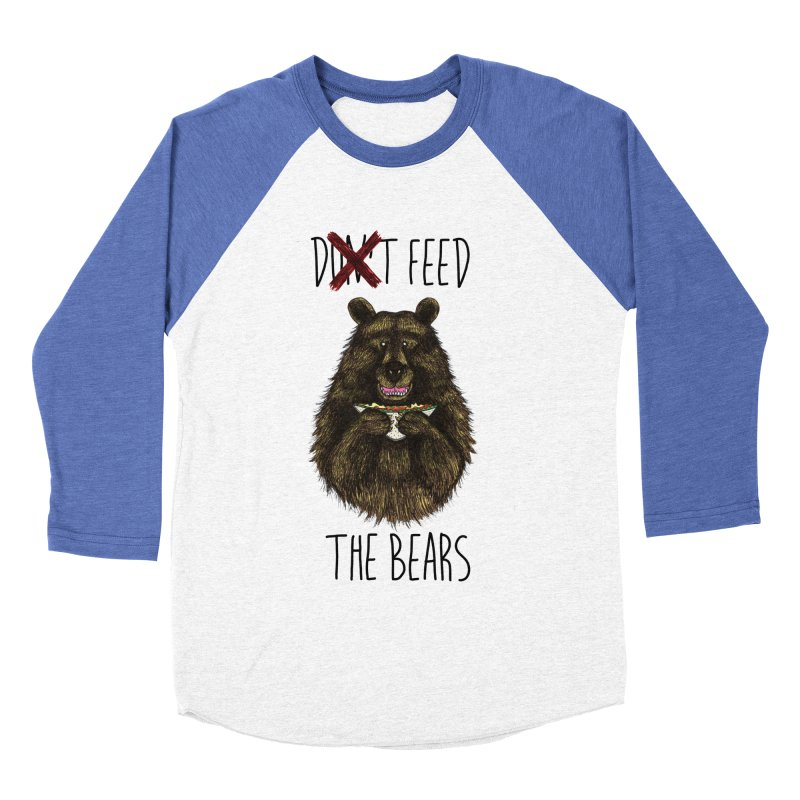 Don't Feed the Bears Men's Baseball Triblend Longsleeve T-Shirt by Angela Tarantula