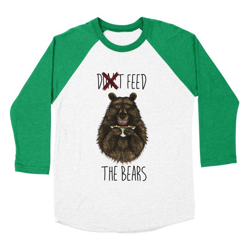 Don't Feed the Bears Men's Baseball Triblend T-Shirt by Angela Tarantula