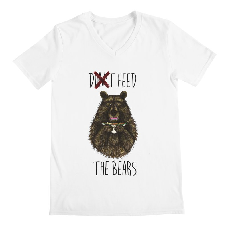 Don't Feed the Bears Men's Regular V-Neck by Angela Tarantula