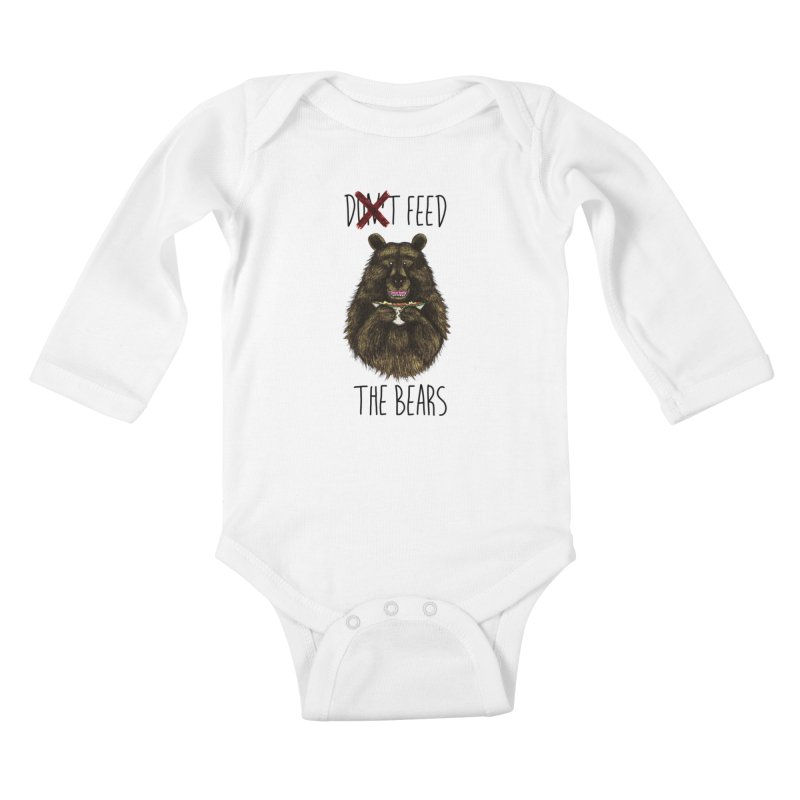 Don't Feed the Bears Kids Baby Longsleeve Bodysuit by Angela Tarantula