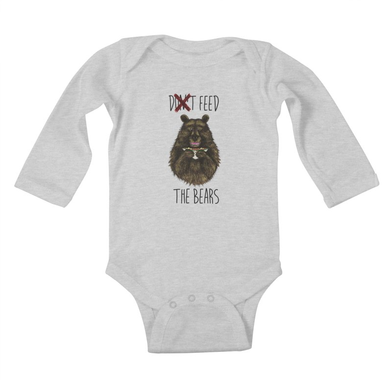 Don't Feed the Bears Kids Baby Longsleeve Bodysuit by Angela Tarantula