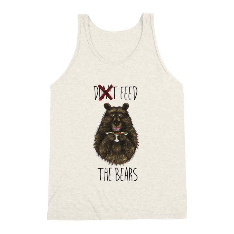 Don't Feed the Bears Men's Triblend Tank by Angela Tarantula