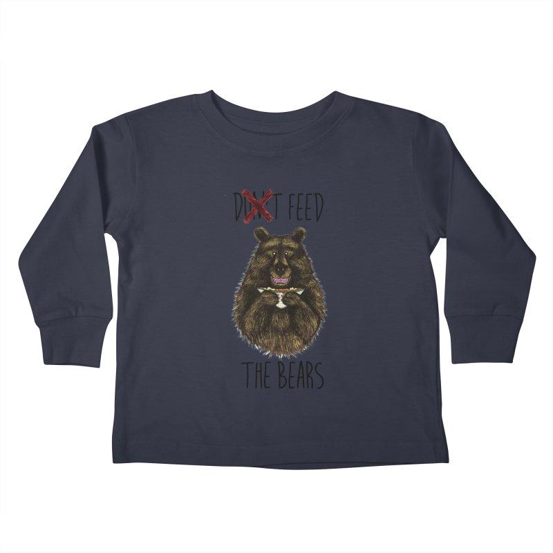 Don't Feed the Bears Kids Toddler Longsleeve T-Shirt by Angela Tarantula