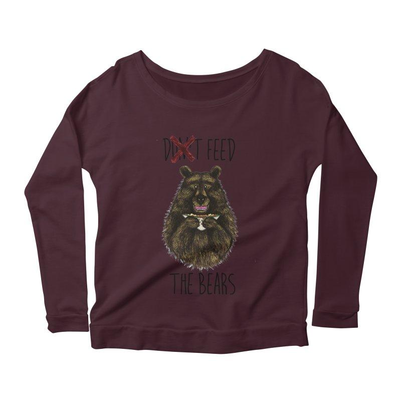 Don't Feed the Bears Women's Scoop Neck Longsleeve T-Shirt by Angela Tarantula