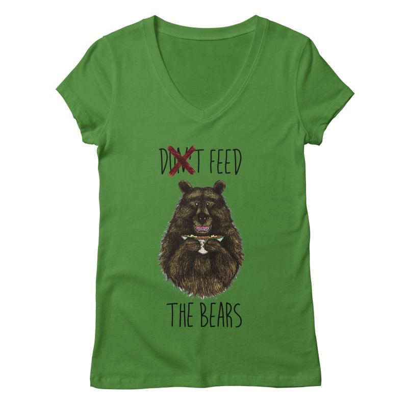 Don't Feed the Bears Women's Regular V-Neck by Angela Tarantula