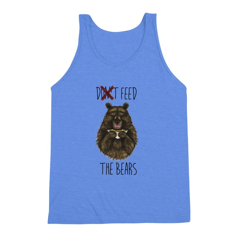 Don't Feed the Bears Men's Triblend Tank by Angela Tarantula