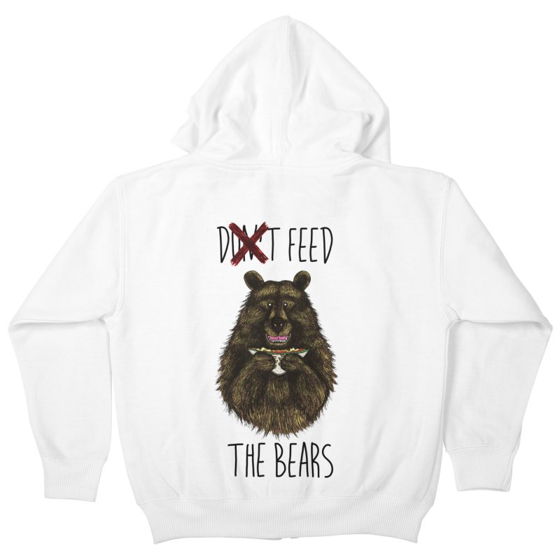 Don't Feed the Bears Kids Zip-Up Hoody by Angela Tarantula