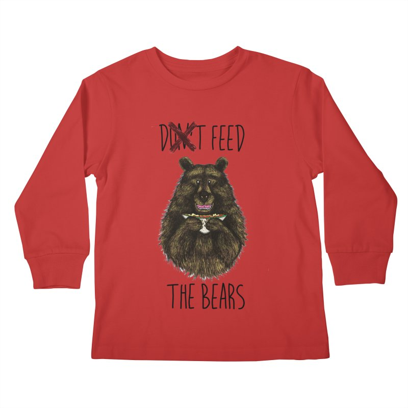 Don't Feed the Bears Kids Longsleeve T-Shirt by Angela Tarantula