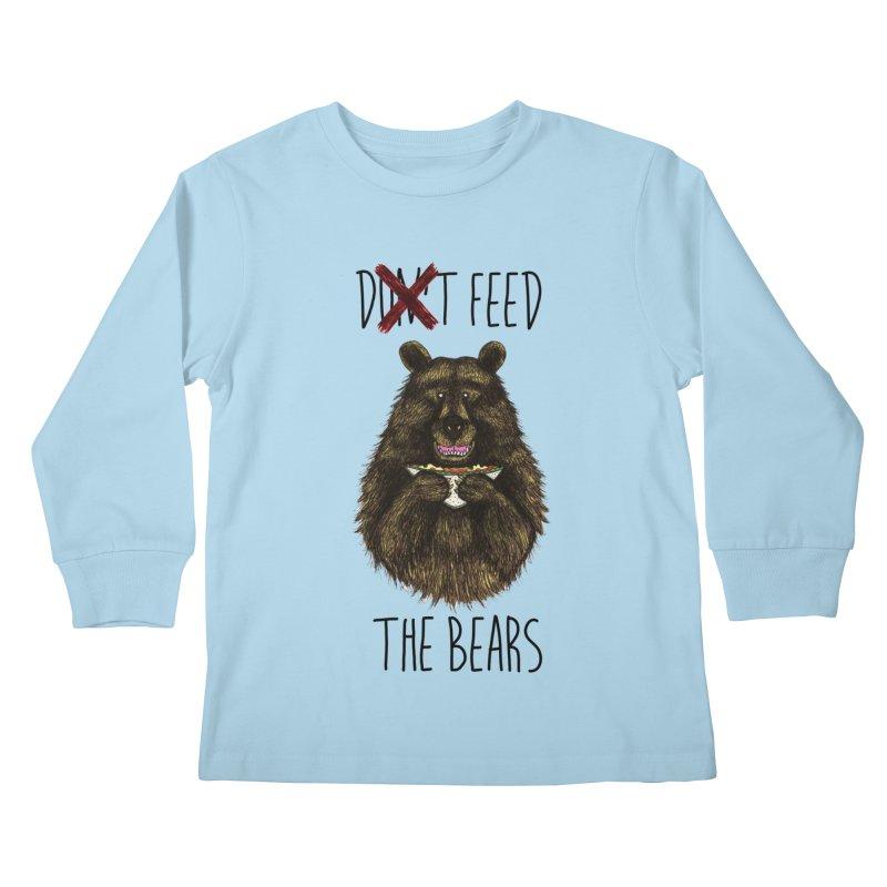 Don't Feed the Bears Kids Longsleeve T-Shirt by Angela Tarantula