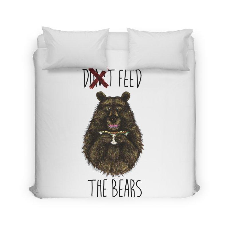 Don't Feed the Bears Home Duvet by Angela Tarantula