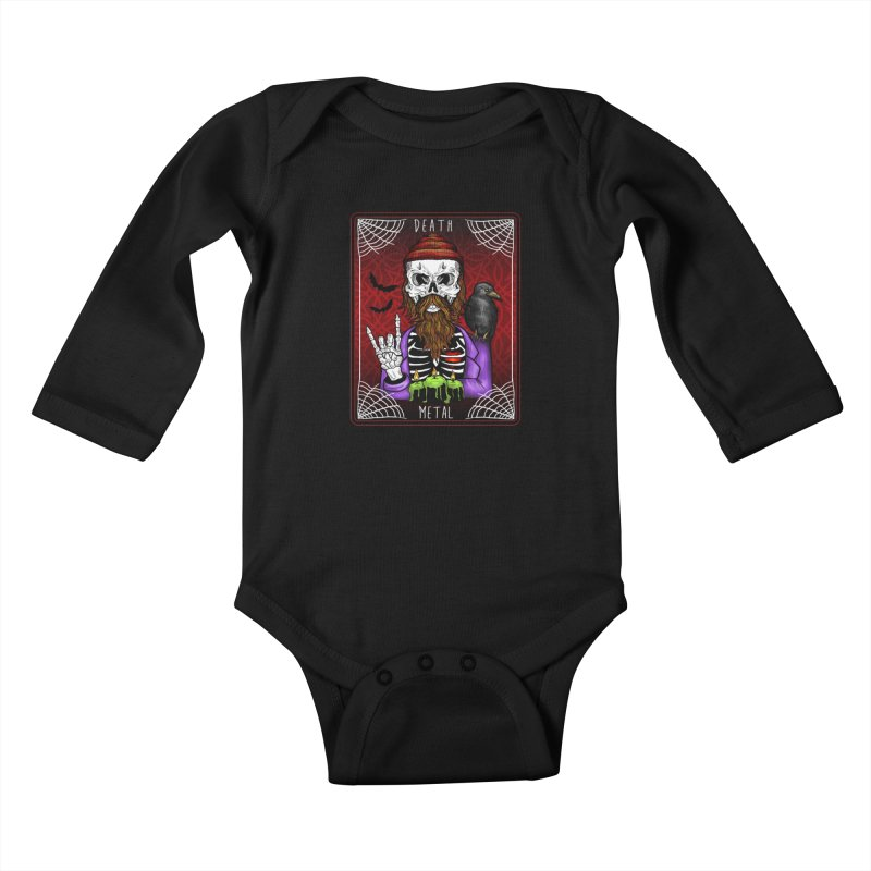 Death Metal Tarot Kids Baby Longsleeve Bodysuit by Angela Tarantula